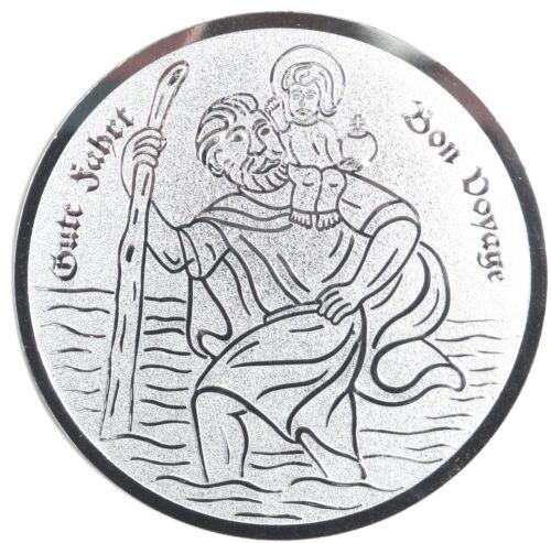 St. Christophorus Schutzpatron Plakette 50 mm silberfarben mit Klebepad