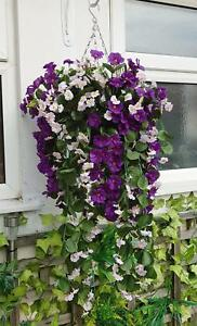 Enthousiaste 90 Cm Artificiel Panier Suspendu Prêt à Accrocher Fleurs Feuille De Lierre Fern Violet & Rose-afficher Le Titre D'origine Petit Profit