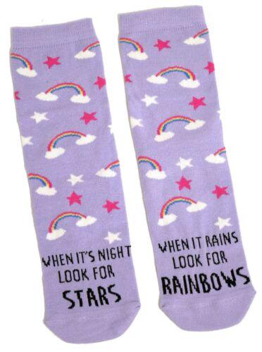 LADIES LILAC RAINBOWS /& STARS SOCKS UK SIZE 4-8 EUR 37-42 USA 6-10