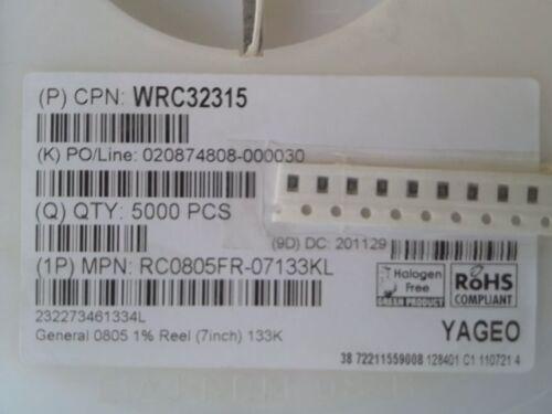133kOhm 10 x SMD Dickfilmwiderstand 125mW NEU RC0805FR-07133KL 1/%