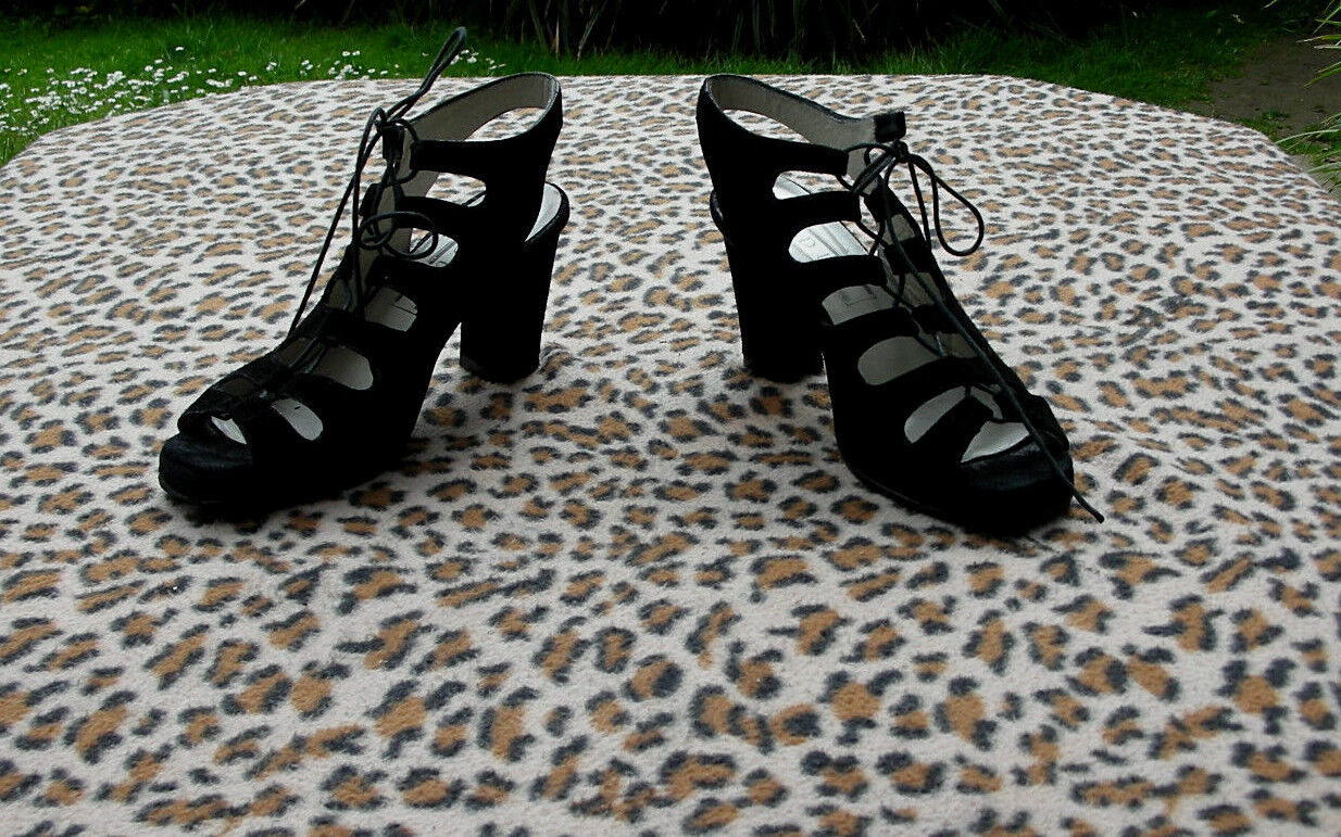Vintage Duo Duo Duo schwarz suede leather high heeled schuhe lace up UK Größe 4 EU 37 45ac10