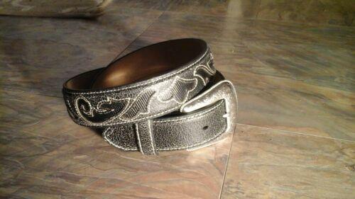 "34/"" Nocona black leather western belt w//engraved buckle white stitched N2498601"
