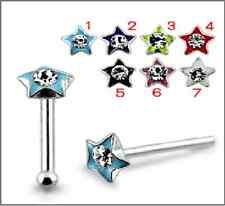 1 22g 6mm Sterling Silver CZ Paint Star Nose Stud Ring Bar Pin Tip Piercing N097