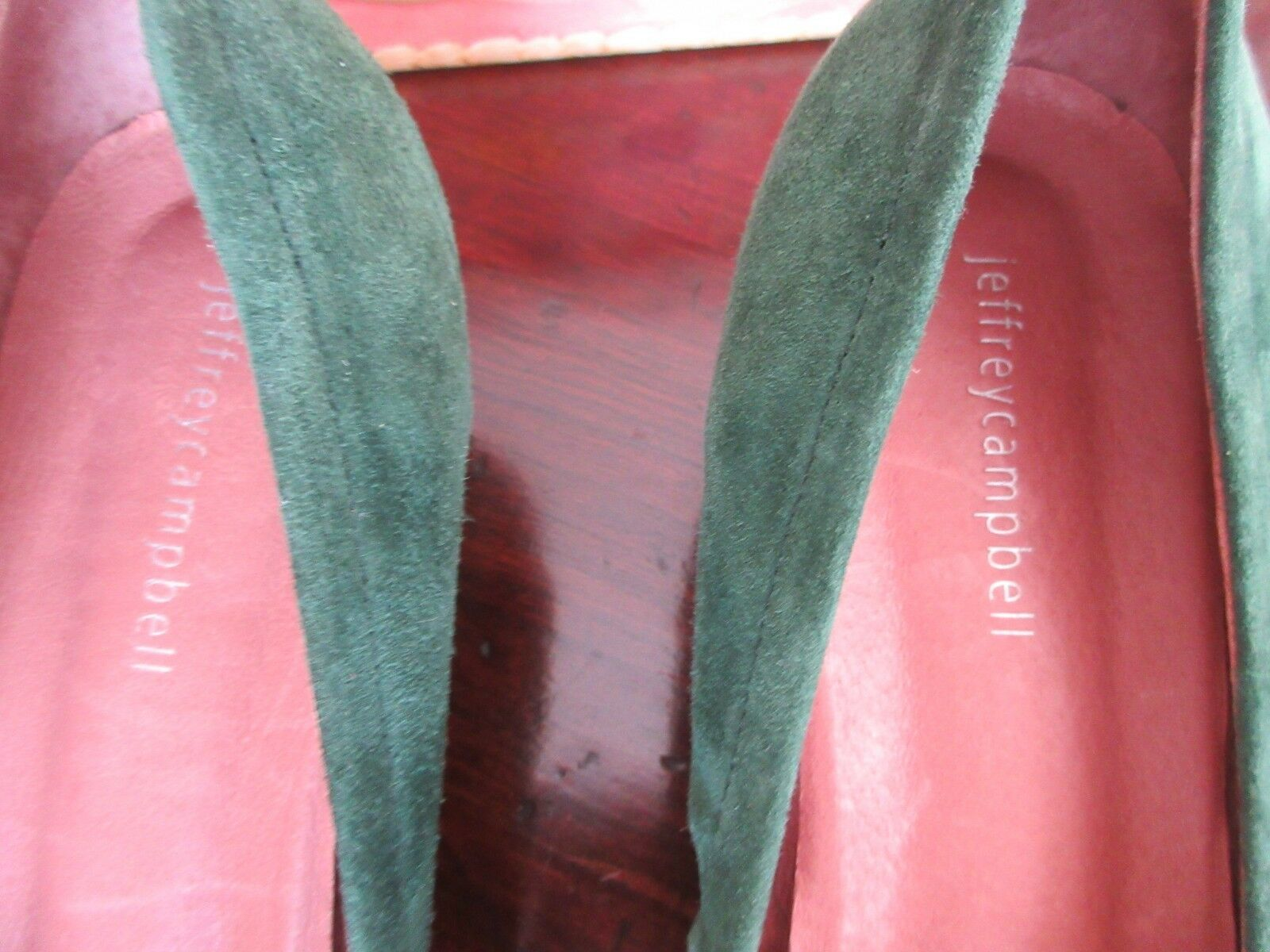 Nuevo En Caja Jeffrey Campbell Bitsie Talón Mediados Mediados Mediados Bomba De Gamuza En El Bosque verde Talla 9.5 709746