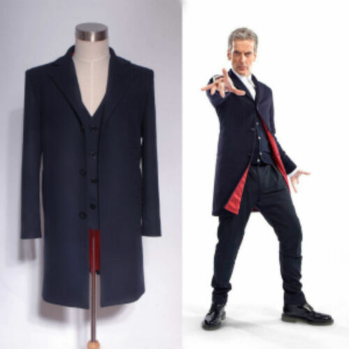 Doctor Who 12th Dr Dark Blue Frock Coat Vest Set Costume /<Custom Made/> Suit :