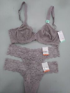 Candies-Bra-Set-34B-Bra-amp-2-Small-Lace-Thong-Panties-039-Sphinx-039-Purple-Nude