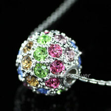 Multi-Color Sparkling Ball Pendant Necklace use Swarovski Crystal SN092