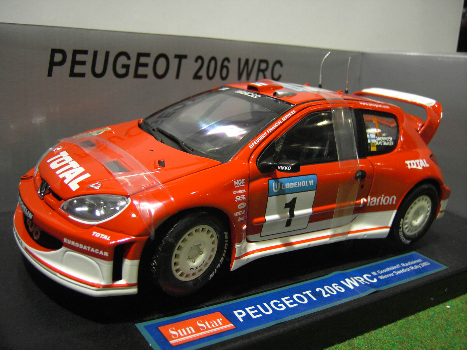 PEUGEOT PEUGEOT PEUGEOT  206 WRC RtuttiY 2003 SWEDISH 1 18 SUNestrella SUN estrella 3860 voiture miniature b53179