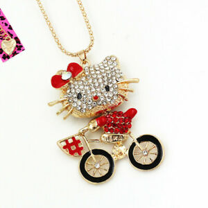 Betsey-Johnson-Red-Enamel-Crystal-Cute-Cycling-Kitten-Cat-Pendant-Chain-Necklace
