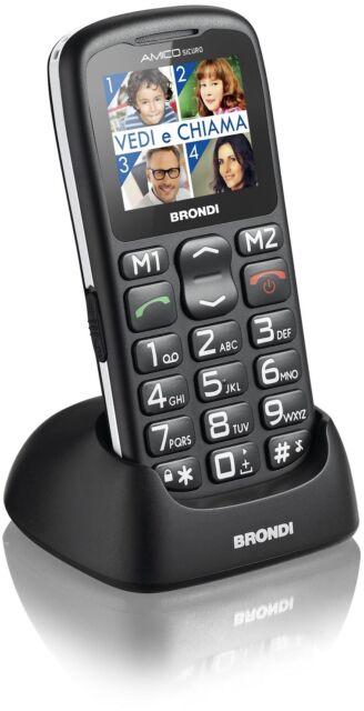 Brondi Telefono Anziani Tasti grandi GSM Bluetooth Tasto SOS AMICO SICURO+