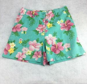 Jones-New-York-Linen-Shorts-Hawaiian-Print-Size-10