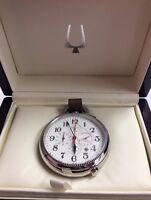 Bulova Ultra High Frequency Uhf Chronograph Brown Leather Pocket Watch 96b249