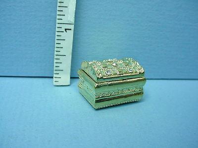 #J066 Bright Delights Dollhouse Miniature Empty Gold Chest