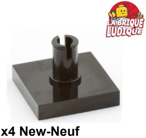 4x Tile Modified plaque lisse axe 2x2 with pin noir//black 2460 NEUF Lego