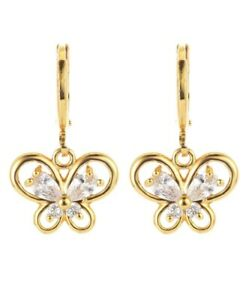 Bright-yellow-gold-plated-multi-crystal-butterfly-shape-dangle-earrings
