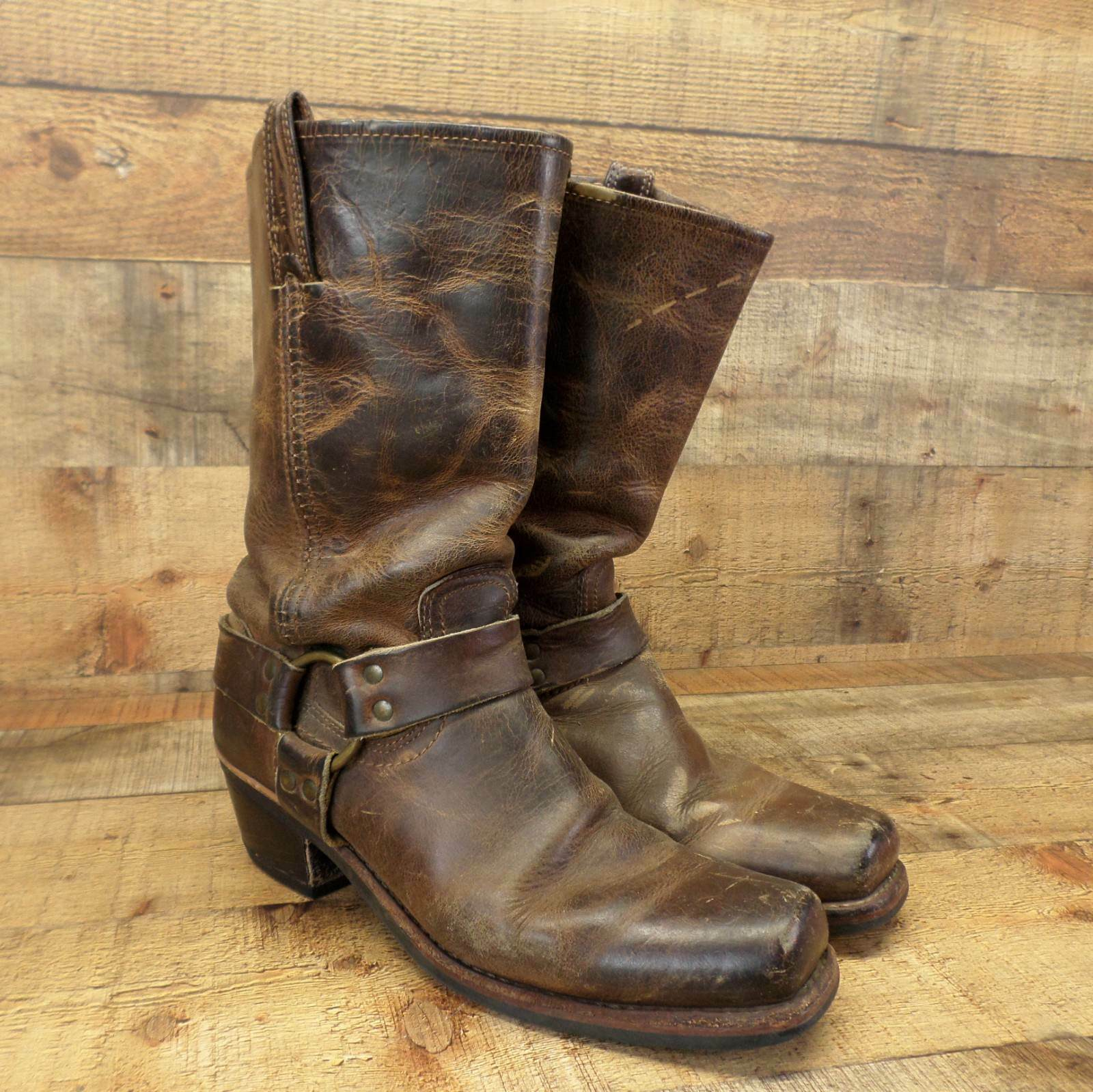 Frye Harness Boots Leather Riding Equestrian Motorcycle Distressed Brown 9.5