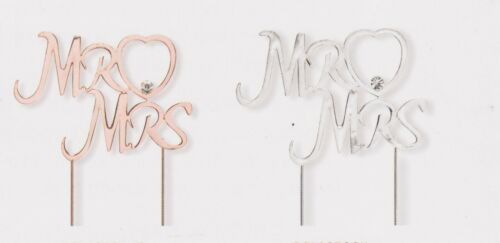 MR /& MRS WEDDING CAKE TOPPER in SILVER or ROSE GOLD 100 x 75mm
