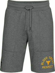 Under-Armour-x-Project-Rock-Men-039-s-Blood-Sweat-Respect-Shorts-Grey-Yellow-NEW