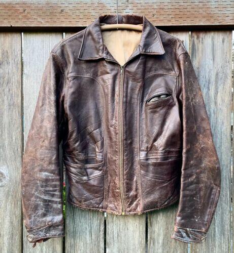 Vintage 30s 40s Sunburst Brown Leather Half Belt M