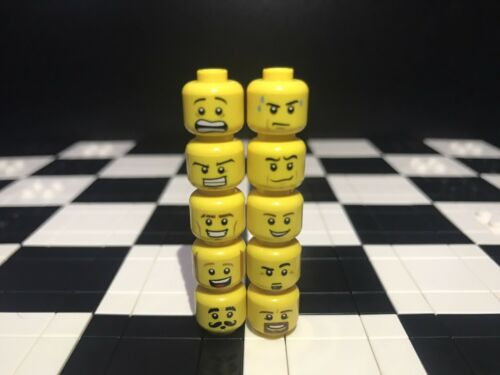 Guy Lego Assorted Minifigure Heads  X10 Male Boy Item #3 Spare Parts