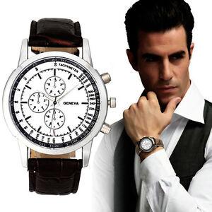 Mode-Herren-Army-Armbanduhren-Leder-Quarz-Anolog-Sport-Uhren-Watches