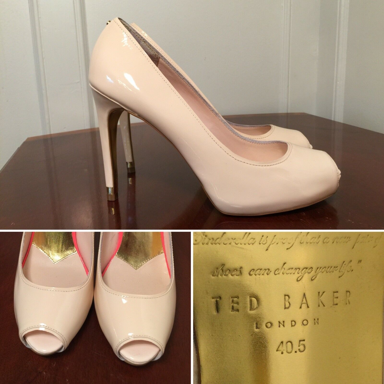 New TED BAKER  Glister  Nude Patent Patent Patent Leather High Heel Peep-Toe Pumps US Size 9.5 8fc31a