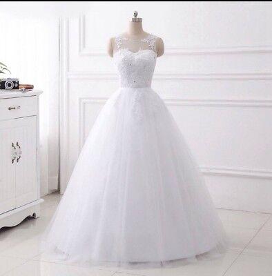 Adattabile Regno Unito Bianco/avorio Senza Maniche A-line In Pizzo Perline Abito Da Sposa Da Sposa Abito Taglia 6-16-