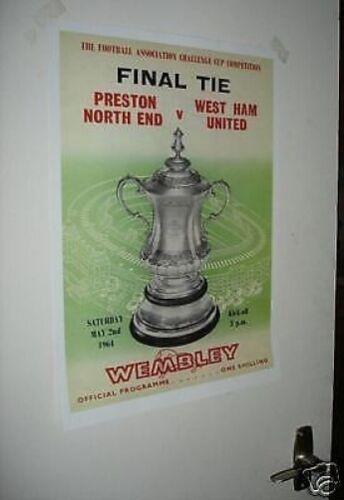 1964  FA Cup Final West Ham Preston North End POSTER