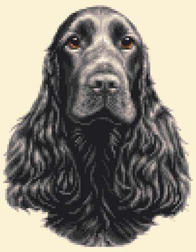 BLACK COCKER SPANIEL dog puppy ~  FULL counted cross stitch kit
