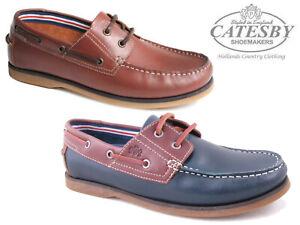 Hommes-Catesby-Chaussures-Bateau-en-cuir-veritable-lacets-Pont-Smart-Mocassins-Casual
