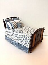 DOLLHOUSE MINIATURE DISCONTINUED MAHOGANY CANED BED WITH CUSTOM UPHOLSTERY