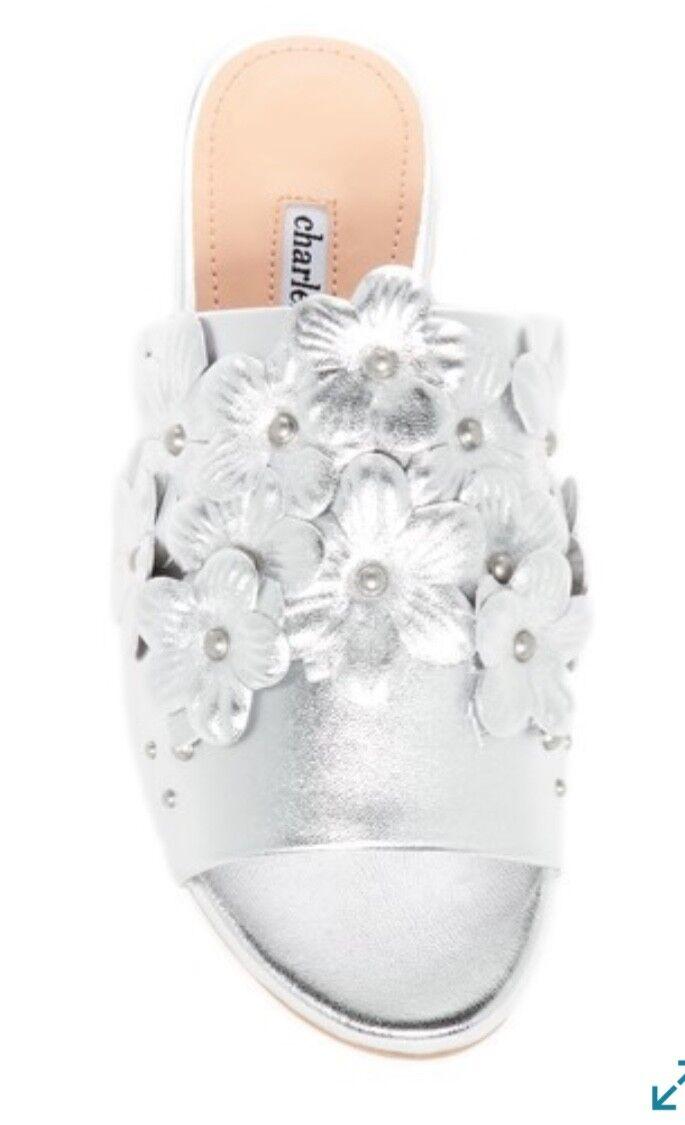 NWT CHARLES DAVID Sicilian Metallic 7 Leder Sandale Größe 7 Metallic Silver Floral Open Toe 211180