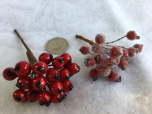 Rouge holly berry sprigs bunch givré gisela graham noël décoration de table