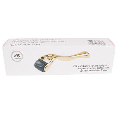 540 Needle Titanium Microneedle Derma Roller Micro Skin Therapy Golden 1.0MM