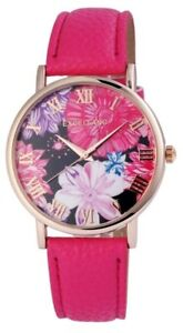 Excellanc-Damenuhr-Pink-Rosegold-Blumen-Metall-Analog-Kunst-Leder-X195035500212