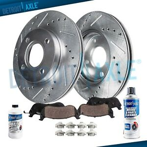 Fit 2005-2007 Ford Focus Front Rear PSport Drill Slot Brake Rotors+Ceramic Pads