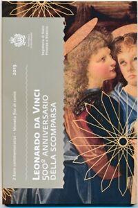 Details zu San Marino 2 € Euro GM 2019 500. Todestag Leonardo da Vinci BU  im Folder