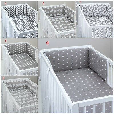 3 PIECE PCS  BEDDING SET GREY BABY BED COT PILLOW CASE DUVET COVER PADDED BUMPER