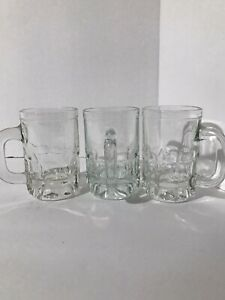 Set-of-3-Vintage-Small-Child-Root-Beer-Mugs-Thick-Glass