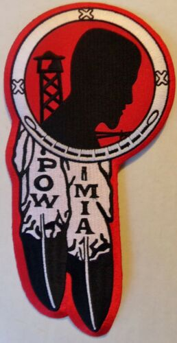 NEW VEST PATCH OVER 8 INCHES POW MIA FEATHERS PATCH NEW VERY NICE