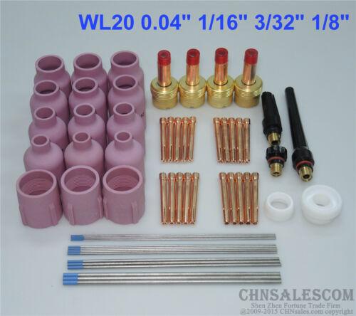 "60 pcs TIG Torch Large Gas Lens WP-17//18//26 WL20 Tungsten 0.04/"" 1//16/"" 3//32/"" 1//8/"""