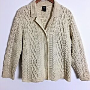 Paul-James-Irish-knit-cable-cardigan-sweater-wool-size-L-women-039-s