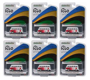 GREENLIGHT-1-64-SCALE-RIO-GAME-JAPAN-VW-VOLKSWAGEN-SAMBA-BUS-6-PCS-51037