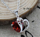 Hot Winsome Silver Plated Ruby Charm Heart Pendant Necklace Free Shipping