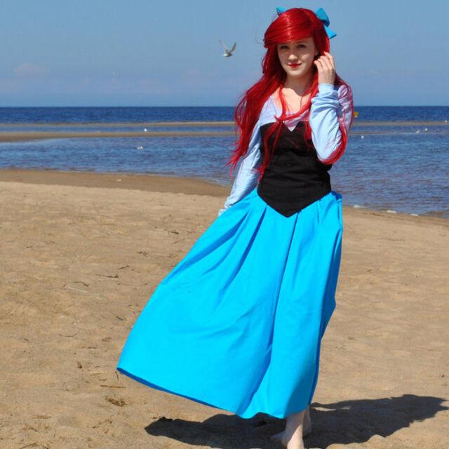 The Little Mermaid Meerjungfrau Ariel Prinzessin Blau Kleid Kostüme Cosplay S-3X