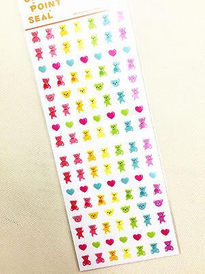 1 x sheet Heart Bear stickers scrapbook DIY Cute Mini  #111