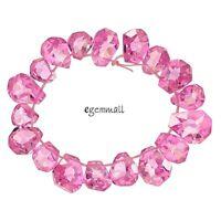 18 Cubic Zirconia Hand Cut Freeform Nugget Beads 10x12-13x15mm Pink 96112