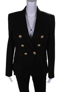 Balmain-Womens-Wool-Double-Breasted-Gold-Button-Blazer-Jacket-Black-Size-42-EUR