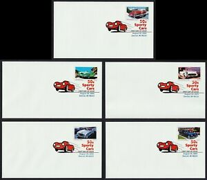 #3931-3935 37c Deportivo Coches Of The 50s, Digital Color FDC Cualquier 5=