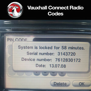 Vauxhall-Radio-Code-Touch-amp-Connect-Stereo-Codes-Corsa-Zafira-Insignia-Opel